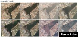 2019년 5월부터 12월까지 매월 청진 일대를 촬영한 위성사진. 선박들의 출항으로 선박의 숫자에 변화가 생긴 것을 볼 수 있다. 자료=Planet Labs