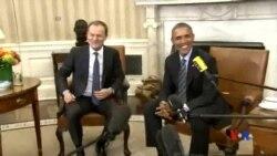 2015-03-10 美國之音視頻新聞: 奧巴馬與歐盟主席在華府商討烏克蘭問題