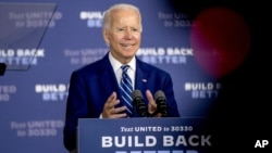 Democratic presidential candidate Joe Biden speaks at a campaign event at the Colonial Early Education Program at the Colwyck Training Center, July 21, 2020, in New Castle, Del.