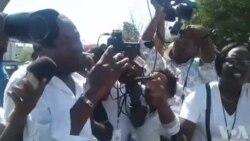 Manifestasyon pou Mande Lapolis Pran Resposabilite l sou Dosye disparisyon Jounalis Fotograf la