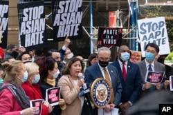 미국 민주당 상하원 의원들이 지난 19일 '아시아계 증오범죄 방지법'에 관한 기자회견을 했다.