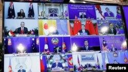 Para pemimpin negara-negara Asia-Pasifik dalam pertemuan virtual Regional Comprehensive Economic Partnership (RCEP), 15 November 2020. (REUTERS)