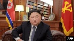 2019년 1월1일 북한 김정은 국무위원장의 신년사를 중계한 조선중앙통신 화면.