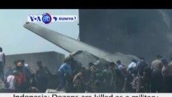VOA60 DUNIYA: Kasar Indonesia Jirgin Sojoji Ya Fadi A Wata Unguwa A Tshibirin Sumatra, Yuni 30, 2015