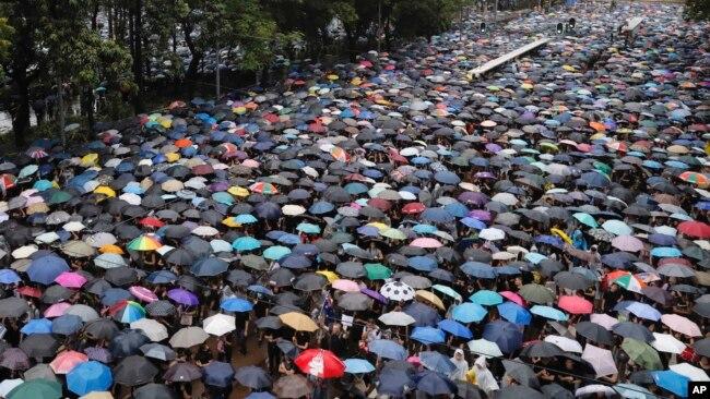 Cuộc biểu tình ở Hong Kong hôm 18/8.