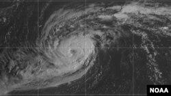 Mata Badai Paulette di Samudra Atlantik Utara tampak bergerak ke arah Bermuda, Minggu, 13 September 2020. (Foto: NOAA)
