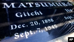 A gravestone in Woodlawn Cemetery in Santa Monica, Calif., shows the death of Giichi Matsumura, who died in the Sierra Nevada on a fishing trip while he was at the Japanese internment camp at Manzanar, Oct. 22, 2019.