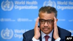 World Health Organization Director-General Tedros Adhanom Ghebreyesus attends a daily press briefing on COVID-19 at the WHO headquarters on March 6, 2020 in Geneva.