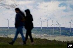 미국 펜실베이니아주 섕크스빌의 풍력 발전용 터빈. (자료사진)