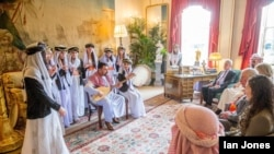 Yazidi musicians performs for Prince Charles, patron of the AMAR Foundation, at his Clarence House residence in central London, Feb. 5, 2020. (Courtesy: Robert Cole/AMAR Foundation)
