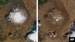 This combination of Sept. 14, 1986, left, and Aug. 1, 2019 photos provided by NASA shows the shrinking of the Okjokull glacier on the Ok volcano in west-central Iceland.
