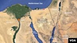 Map of Sinai Peninsula in Egypt