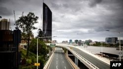 "A deserted Riverside Expressway is seen on the first day of a snap lockdown in Brisbane on Jan. 9, 2021, with officials elsewhere in Australia on ""high alert"" over the emergence of more contagious strains of COVID-19."