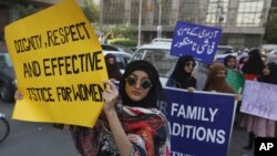 Pakistanis take party in a pro-women rally ahead of Women's Day in Karachi, Pakistan, Friday, March 6, 2020. Pakistani women plan to hold rallies across the country to celebrate International Women's Day to bring attention to their efforts to seek…