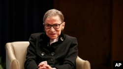 Supreme Court Justice Ruth Bader Ginsburg attends Georgetown Law's second annual Ruth Bader Ginsburg Lecture, Oct. 30, 2019, in Washington.