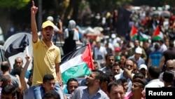 2019年6月26日巴勒斯坦示威者抗议中东和平计划
