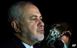 FILE - Iranian Foreign Minister Mohammad Javad Zarif speaks to the media after arriving at Viru Viru International Airport in Santa Cruz, Bolivia, July 23, 2019.