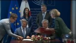 Європарламент підписав документ про безвізовий режим із ЄС для України. Відео
