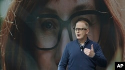 Dave Limp, senior vice president for Amazon devices & services, wears a pair of Echo Frames - eyewear enabled with the company's Alexa personal assistant technology, as he speaks Wednesday, Sept. 25, 2019, during an event in Seattle. The glasses are…