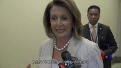 众议院少数党领袖佩洛西接受美国之音采访