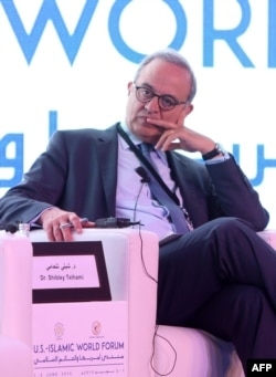 FILE - Marwan Muasher attends a panel discussion as part of the US-Islamic World Forum on June 1, 2015, in the Qatari capital Doha.
