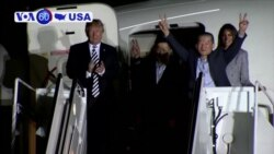VOA60 America - Three Americans freed from North Korea are greeted in Washington by President Donald Trump