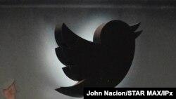 Logo Twitter di New York, 12 Mei 2020.