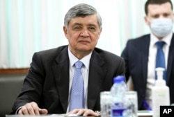 In this photo released by Russian Foreign Ministry, Special Representative of the President of the Russian Federation on Afghanistan Zamir Kabulov attends the talks in Islamabad, Pakistan, April 7, 2021.