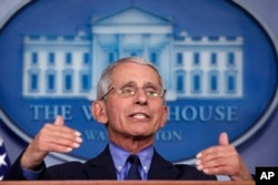 FILE - Dr. Anthony Fauci, director of the National Institute of Allergy and Infectious Diseases, speaks about the coronavirus in the James Brady Press Briefing Room of the White House, April 17, 2020.