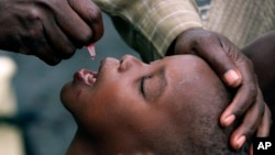 In this file photo taken on Jan. 25, 2002, a Congolese child is given a polio vaccination at a relief camp near Gisenyi, Rwanda.