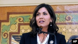 FILE - South Dakota Gov. Kristi Noem, pictured in January 2019 in Pierre, S.D., traveled to Rapid City to help oversee the fire response on March 30, 2021.