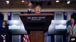Президент Дональд Трамп відповідає на запитання преси у Білому домі 7 квітня 2020 р.