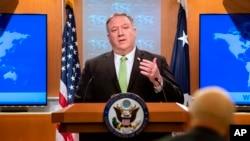 Menteri Luar Negeri AS, Mike Pompeo memberikan keterangan pers di Washington DC, Rabu (20/5).