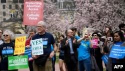 """2019年3月29日活動人士集會抗議特朗普政府對非政府組織的""""全球終結令"""""""