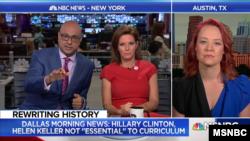 로렌 맥가히(화면 오른쪽) 기자가 MSNBC 뉴스에 출연해, 미 텍사스주 공립학교 역사 교육 과정에서 힐러리 클린턴 전 국무장관과 헬렌 켈러 여사 등을 제외하기로 한 특종 보도에 관해 설명하고 있다. (MSNBC 제공)