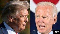 Una combinación de fotos de archivo compuesta el 15 de octubre de 2020, muestra al presidente de EE. UU. Donald Trump (izq.) y al ex vicepresidente Joe Biden .