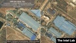 تصویر ماهوارهای منتشر شده از سوی «اینتل لب» که خسارتهای تاسیسات کرج را نشان میدهد