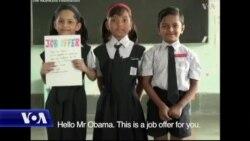 Zarokên Hindistanê Dixwazin Obama Bibe Mamostayê Wan