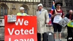 Manifestation pro-Brexit devant le Parlement britannique, à Londres, le 5 septembre 2019.