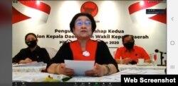 Ketua Umum PDIP, Megawati Soekarno Putri, menyampaikan arahan secara daring pengumuman tahap II untuk 45 Pilkada 2020, 17 Juli 2020.