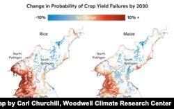 2030년까지 북한의 쌀과 옥수수 작황 실패 가능성을 분석한 지도. Map by Carl Churchill, Woodwell Climate Research Center