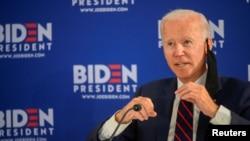 រូបឯកសារ៖ លោក Joe Biden បេក្ខជនប្រធានាធិបតីខាងគណបក្សប្រជាធិបតេយ្យ ថ្លែងនៅក្នុងយុទ្ធនាការឃោសនាបោះឆ្នោត នៅទីក្រុង Philadelphia រដ្ឋ Pennsylvania កាលពីថ្ងៃទី ១១ ខែមិថុនា ឆ្នាំ២០២០។