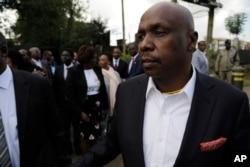 Baringo Senator Gideon Moi, son of former president Daniel arap Moi, is seen outside the Lee Funeral home in Nairobi, Kenya, Feb. 4, 2020.