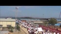 缅甸人集会抗议中国投资的输油管工程