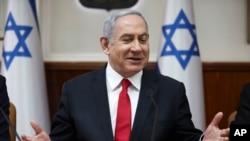 Israeli Prime Minister Benjamin Netanyahu chairs the weekly cabinet meeting in Jerusalem, March. 8, 2020.