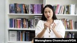 Clubhouse user from Thailand, Rukchanok Srinork, gave an interview from her home in Bangkok. (Warangkana Chomchuen/VOA)