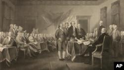 """""""Deklaracija o nezavnisnosti"""", donijeta 4. jula 1776. godine, izložena u Kongresnoj biblioteci."""