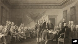 """This image shows an 1876 engraving titled """"Declaration of Independence, July 4th, 1776"""" made available by the Library of Congress."""