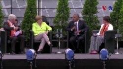 Obama Merkel ile Brandenburg Kapısı Önünde Konuştu