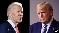 پرزیدنت دونالد ترامپ و جو بایدن، معاون پیشین ریاست جمهوری آمریکا. آرشیو، ۱۲ مارس ۲۰۲۰ و ۵ آوریل ۲۰۲۰